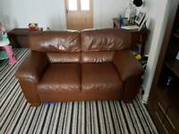 3+2 seater chocolate brown leather sofa