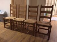 4 oak ladder back dining chairs with wicker seats