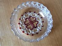 Glass Bowl With Red Heart Shaped Pattern on Both Sides in Perfect Condition. NEW Unwanted Gift.