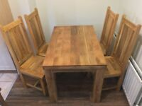 Solid Mango Dining Set with Table and 6 Chairs