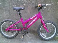 """Childs / Kids / Girls 16"""" Ridgeback MX16 Aluminium Mountain Bike"""