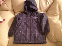 Quiksilver navy blue and white hooded Zip up coat age 6-7