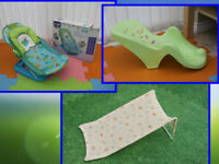 Baby bath seat bather plastic green or fabrics from £5 each for sale