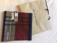 100% authentic burberry cashmere scarf - Teal/Camel