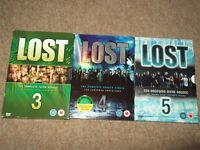 dvd lost box sets series three.four and five used but in good clean condition,a bargain at £5.00