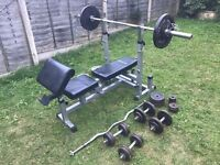 Bench with Olympic bars & weights
