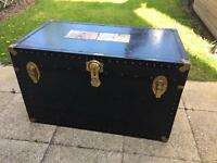 Big Old dark green antique steamer trunk