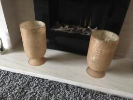 Bronze/gold crackle effect Hurricaine candle holder lamps from Next