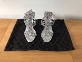 Silver heels (size 4) - only worn once indoors