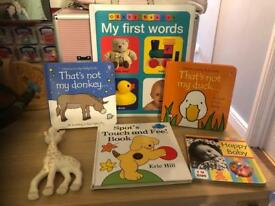 Books and Sophie teething toy