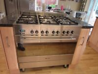 Stainless Steel Freestanding 6 burner Gas Cooker with large Multifunction Electric Oven