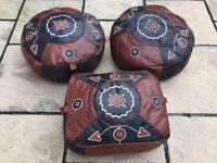 3 African Skin Leather Beanbags / Pouf (2 round & 1 rectangle)