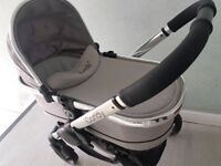 icandy peach 2 buggy pram stroller baby cot bassinet in silver mint / COT ONLY