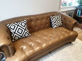 Stunning barely used tan chesterfield look 3 seater sofa