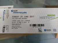 AEGON CHAMPIONSHIPS QUEEN'S 2 TICKETS FINAL 25 JUNE 2017