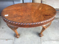 Side Table with ball and claw feet. feel free to view size W 27 in D 18 in H 17 in