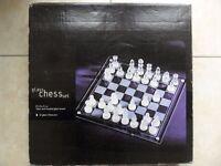 Large Glass Chess Set Boxed Unused