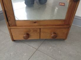 Vintage bathroom solid wooden cabinet with mirror