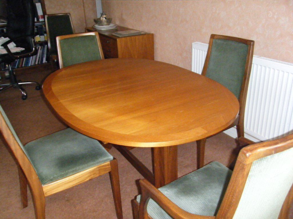 Elegant extending oval nathan furniture teak classic retro dining table and six chairs collect