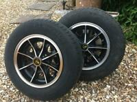 Pair of 5.5J x 13 classic alloy wheels and tyres