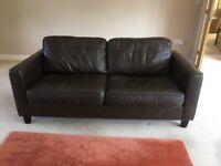 Dark brown leather 2 seat sofa - John lewis