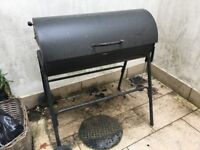 BBQ Charcoal Oil Drum BBQ - Cover & Adjustable Grill + Chimney