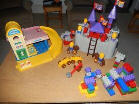 Toy Garage and Plastic Duplo Style Fort and Bricks. Well used but still very entertaining.