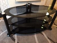Black Glass TV Stand for sale - Excellent Condition