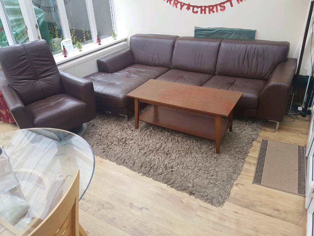 Leather Corner Sofa And Arm Chair Rocking Coffee Table