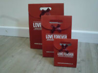 Joblot 1500 x Love Forever Quality Paper Gift bags wholesale clearance Stock