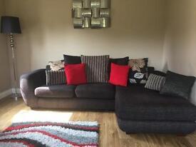 Charcoal grey left hand corner sofa & chair.