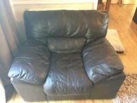 Brown leather Arm chair & foot chest