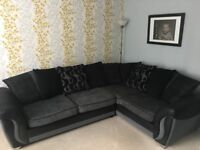 DFS Charcoal Grey and Black Left Hand Corner Sofa Group