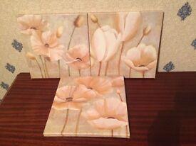 Flower canvas 3 piece set