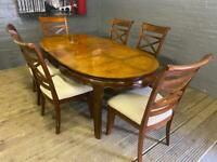 STUNNING MAHOGANY WOODEN DINING TABLE EXTENDABLE WITH 6 W