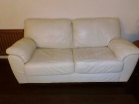 3 Seater Cream Leather Sofabed plus 2 Seater Cream Leather Sofa plus matching tub chair