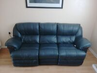 Furniture Package - Colorado Electric Reclining Blue Leather Sofa Suite