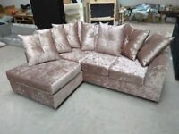 NEW L/H MINK CRUSHED VELVET CORNER SOFA INCLUDES FREE FOOTSTOOL & DELIVERY ALL FOR ..£299.99