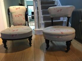 pair antique nursery chairs- ebonised and upholstered