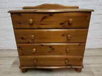 Pine Chest Of Four Drawers (DELIVERY AVAILABLE FOR THIS ITEM OF FURNITURE)