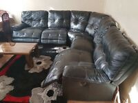 5 seater Leather corner sofa with 3 recliners