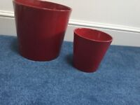 red plant pots x 2.... £10 for both