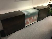 Dark wood / frosted glass office filing cabinet