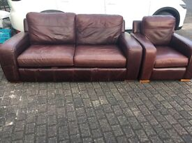 3 Seater Leather Sofa and Arm Chair for sale