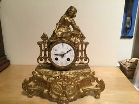 French gilt cased 8day striking mantle clock