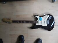 Fender Squier Affinity Strat - Black with white trim - Immaculate - Includes Rockbag.