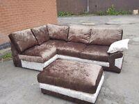 Nice brown and mink crushed velvet corner sofa & footstol.or larger corner.1 month old.can delive