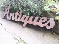 "Vintage Reclaimed Industrial Metal Antiques Shop Display Sign ""ANTIQUES"" Antique Metal"