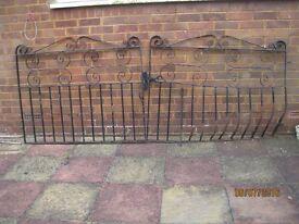 Double steel front garden gates