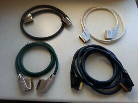 SCART LEADS - PROFESSIONAL QUALITY, HIGH END - 4No. VARIOUS LENGTHS - REDUCED PRICE